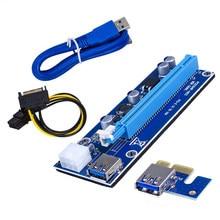Ver006c pci-e riser cartão pci express pcie 1x a 16x adaptador extensor usb 3.0 cabo sata 15pin para 6pin power para mineiro de mineração