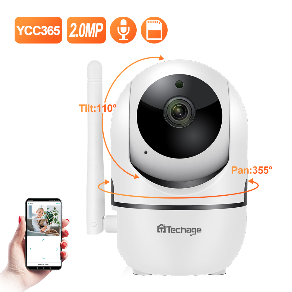 Techgae 1080P HD  IP Camera WiFi Baby P2P With Monitor Cloud  Mini Wireless Auto MotionTracking Video Security Surveillance