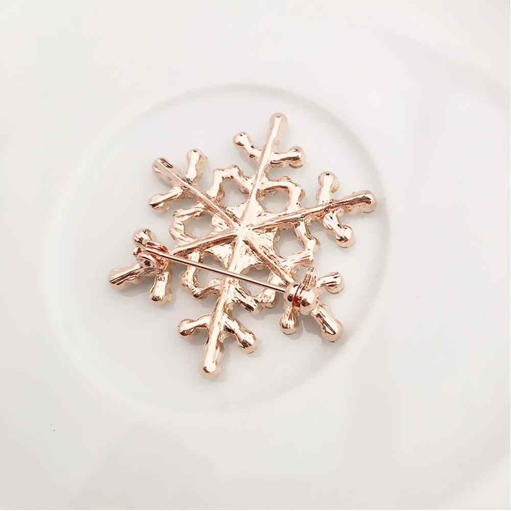 Wanita Fashion Cute Pin Menawan Kristal Berlian Imitasi Bros Unicorn Besar Kepingan Salju Bros Pin Perhiasan Bros Aksesori