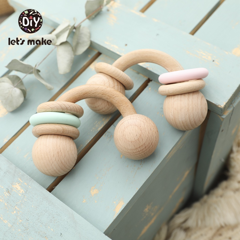 Let's Make Baby Toys 0-12 Months Wooden Rattles Toys Educational Developmental 1PC Beech Semicircle Children's Toys For Kids