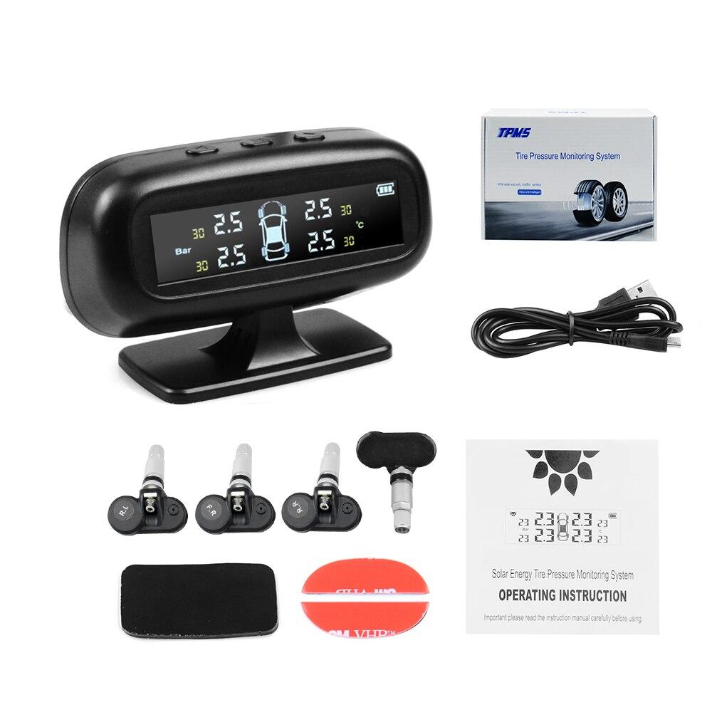 Auto Car Solar Power TPMS Smart Car Tyre Pressure Monitoring System Wireless Alarm