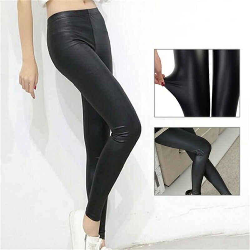 2019 hot koop solid sexy Shiny Black Dunne Elastische Vrouwen Hoge Taille Stretch Skinny Shiny Leggings Slim Fit Broek plus size