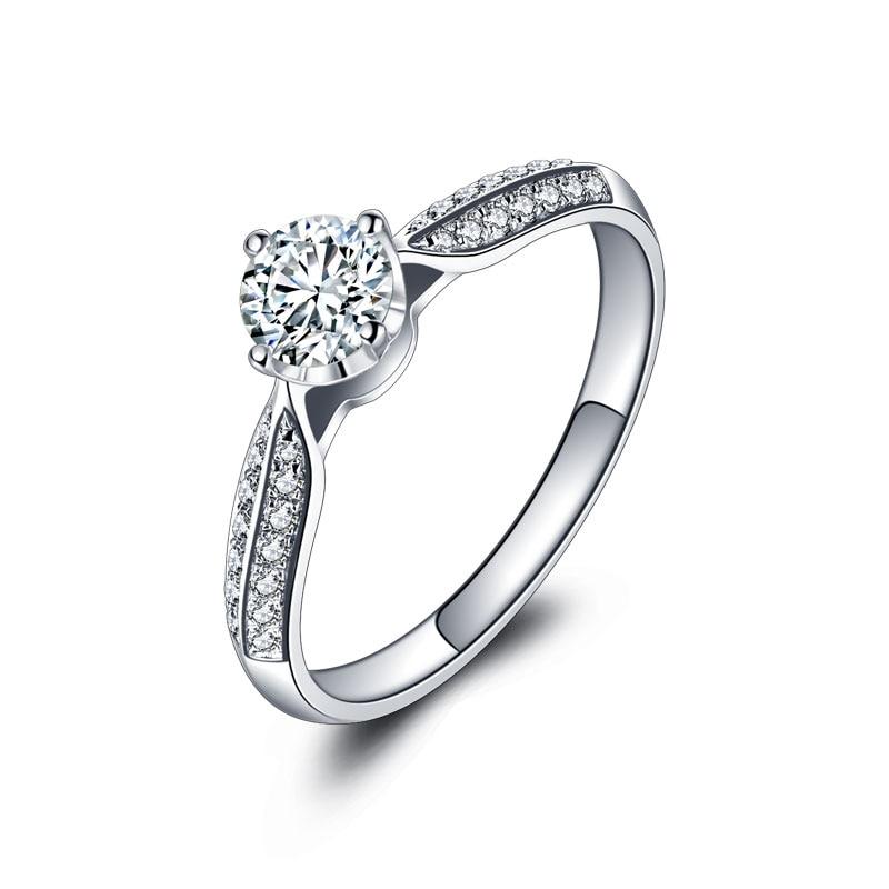 Authentique bague en or blanc 18k avec diamants, ensemble de mariage en or Rose platine 1 Carat