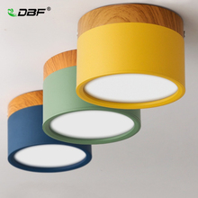 [DBF]Macaroon Iron+Wood Surface Mounted Ceiling Downlight 5W 12W LED Ceiling Spot Light AC110/220V for Kitchen Living room Decor