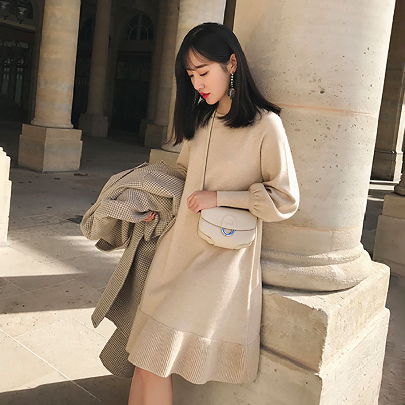 With Overcoat Of Long Skirts Children Autumn And Winter Korean-style Elegant Underwear Base Sweater Dress High-waisted Princess