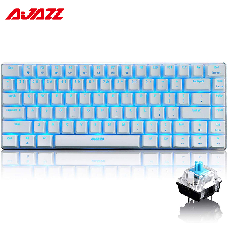 Ajazz AK33 <font><b>82</b></font> Keys Russian Wired Gaming <font><b>Keyboard</b></font> Mechanical <font><b>Keyboard</b></font> Blue/Black Switch RGB Backlit Conflict-free Rollover gamer image