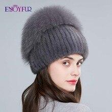 Enjoyالفراء الحقيقي الثعلب الفراء قبعة الإناث الطبيعية فرو منك قبعات الشتاء النساء العمودي الراين عالية الجودة بيني قبعات الموضة