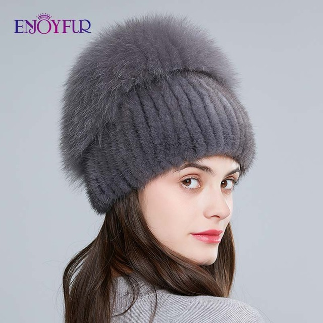 Enjoyfurリアルキツネの毛皮の帽子女性の自然なミンクの毛皮女性の冬帽子垂直ラインストーン高品質ビーニーファッションキャップ