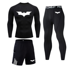Tracksuit Joggers Running-Sets Gym Batman-Logo-Compression Fitness Superhero Sport Quick-Dry
