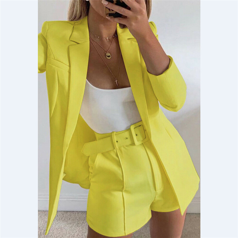Fashion Womens Candy Colour Basic Blazer Coat +Pants Slim Suit Jacket Blazer Set