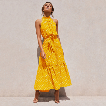 Summer Long Dress Polka Dot Casual Dresses Black Sexy Halter Strapless New 2020 Yellow Sundress Vacation Clothes For Women 17
