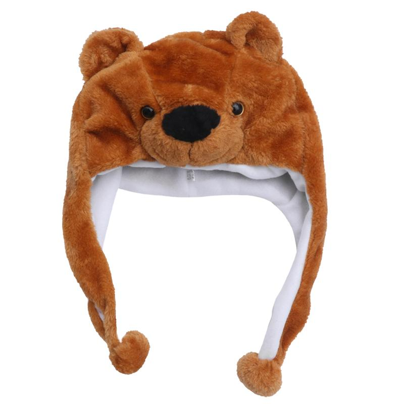 Animal Plush Hat Cartoon Funny Adorable Delicate Cute Simulation Brown Bear Cap Kids Performance Props Novelty Toys