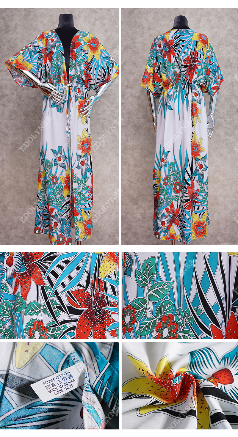 H946afe20a52a44b88edf28c0e311eafd9 - Bohemian Printed Half Sleeve Summer Beach Wear Long Kimono Cardigan Cotton Tunic Women Tops Blouse Shirt Sarong plage N796