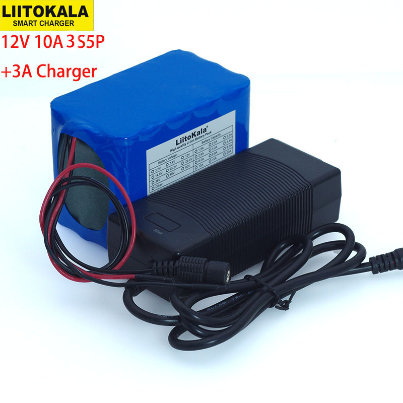 Liitokala Protection Large capacity 12 V <font><b>10ah</b></font> 18650 <font><b>lithium</b></font> Rechargeable <font><b>battery</b></font> <font><b>12v</b></font> 10000 mAh + 12.6 v 3A <font><b>battery</b></font> Charger image
