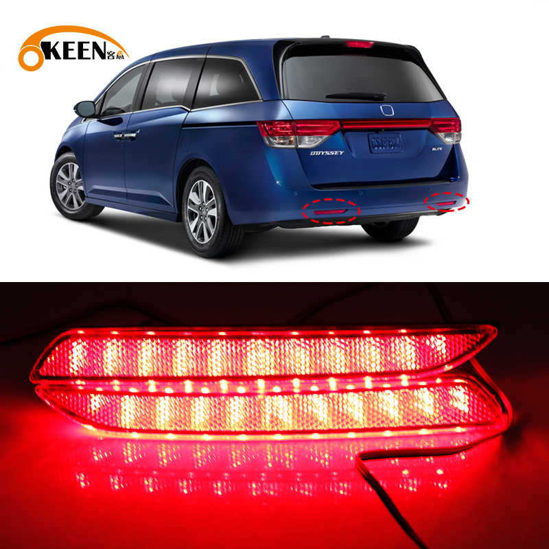 2 Stuks Voor Honda Odyssey 2015 Led Rear Bumper Reflector Licht Tail Brake Signal Lamp Auto Mistlamp (Alleen fit Aisa Model)