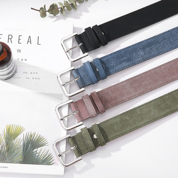 Women Belt Fashion Wide Suede With Holes Leather Waist Strap Casual Ladies Pin Buckle Belts Dresses Simple