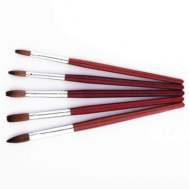 נייל אמנות מברשת עץ ידית עיצוב אקריליק Builder שטוח קריסטל ציור ציור גילוף עט עבור UV ג 'ל אוניית כלי סט