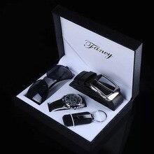 Часы наручные мужские с ремешком, модные роскошные, подарок для отца, с несколькими часовыми поясами