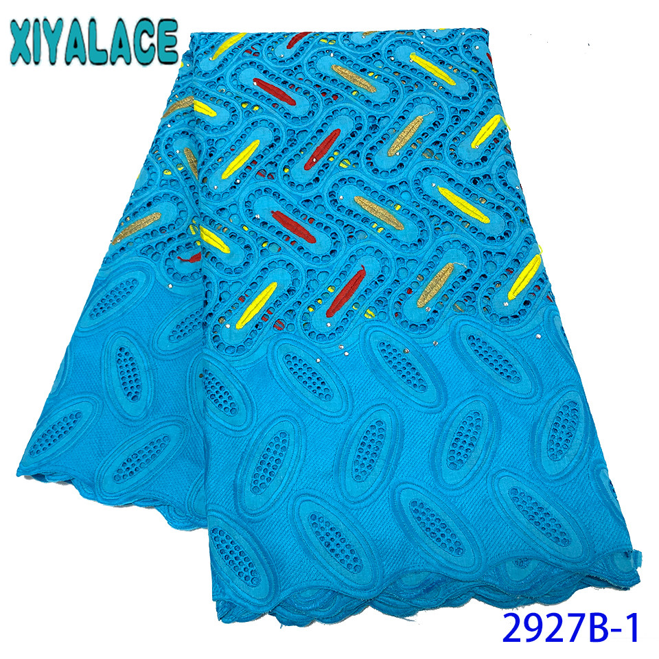 African Lace Fabrics,Dry Lace Fabrics High Quality Cotton Lace Fabric,blue Lace Fabric For Nigerian Dresses KS2927B-1