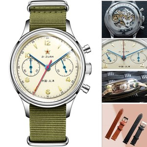 Image 2 - Classic Sapphire Glass 1963 Chronograph Men Pilot Watch Mechanical Hand Wind Movement ST1901 Mens Aviator Watches SEAKOSS 38 40