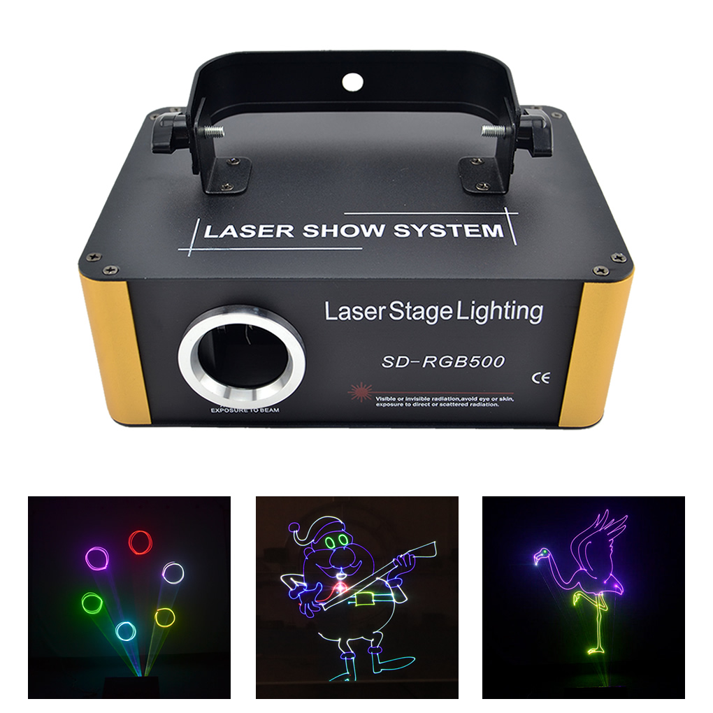 TF Card Program 500mW RGB Laser Animation Scan Projector Stage Lighting Xmas DJ Party Show DMX Moving Ray Light ILD File SD-F500