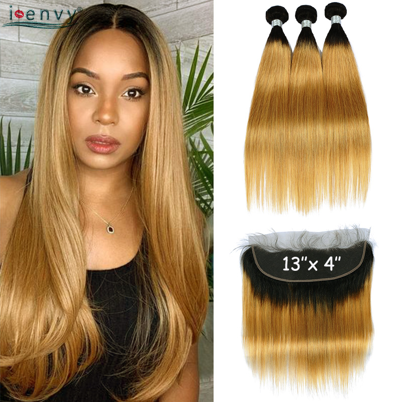 T1B 27 Ombre Blonde Bundles With Lace Closure Straight Colored Brazilian Human Hair Bundles With Frontal Closure Non-remy