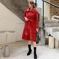 Winter Female Real Sheep Shearing Fur Coat 2019 New Autumn Women Solid Genuine Wool Long Jacket Belt Thick Warm Overcoats