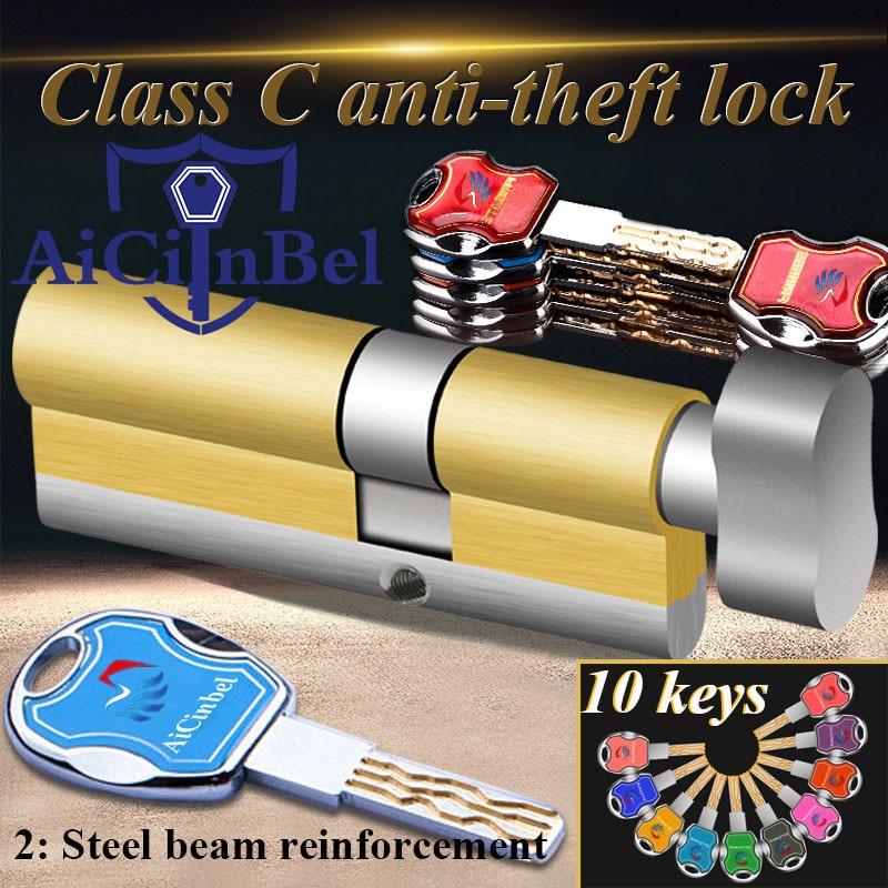 60 65 70 75 80 85  90 95 100mm Door Lock Brass Cylinder Single Open Knobs Eccentric  Security Door Lock Bedroom Cylinder 10 Keys