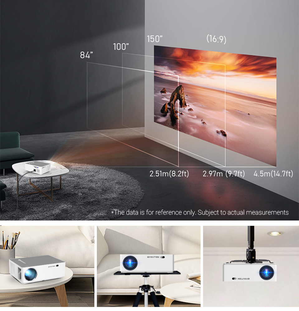 Projector-HD home theater projector for smartphone-image size