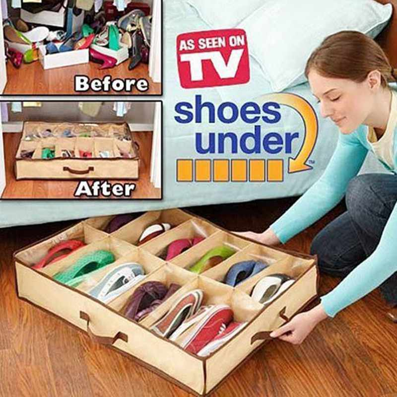 Hot Sale Home Accessories 12 Grid Transparent Dustproof Shoe Organizer PVC Shoe Storage Box Space Saving
