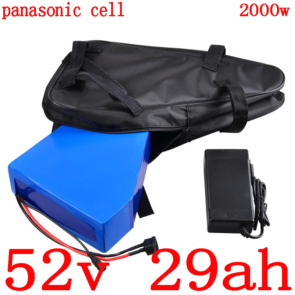 52V electric bike battery 52v 30ah Lithium battery use panasonic cell for 48V 1000W 2000W electric scooter battery+5A charger