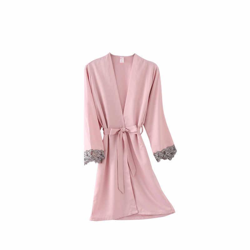 Zielone kobiety Rayon koronkowe szaty druhna ślubna suknia ślubna kimono jednolita szata bielizna nocna koszula nocna druhna szaty rozmiar M-XXL