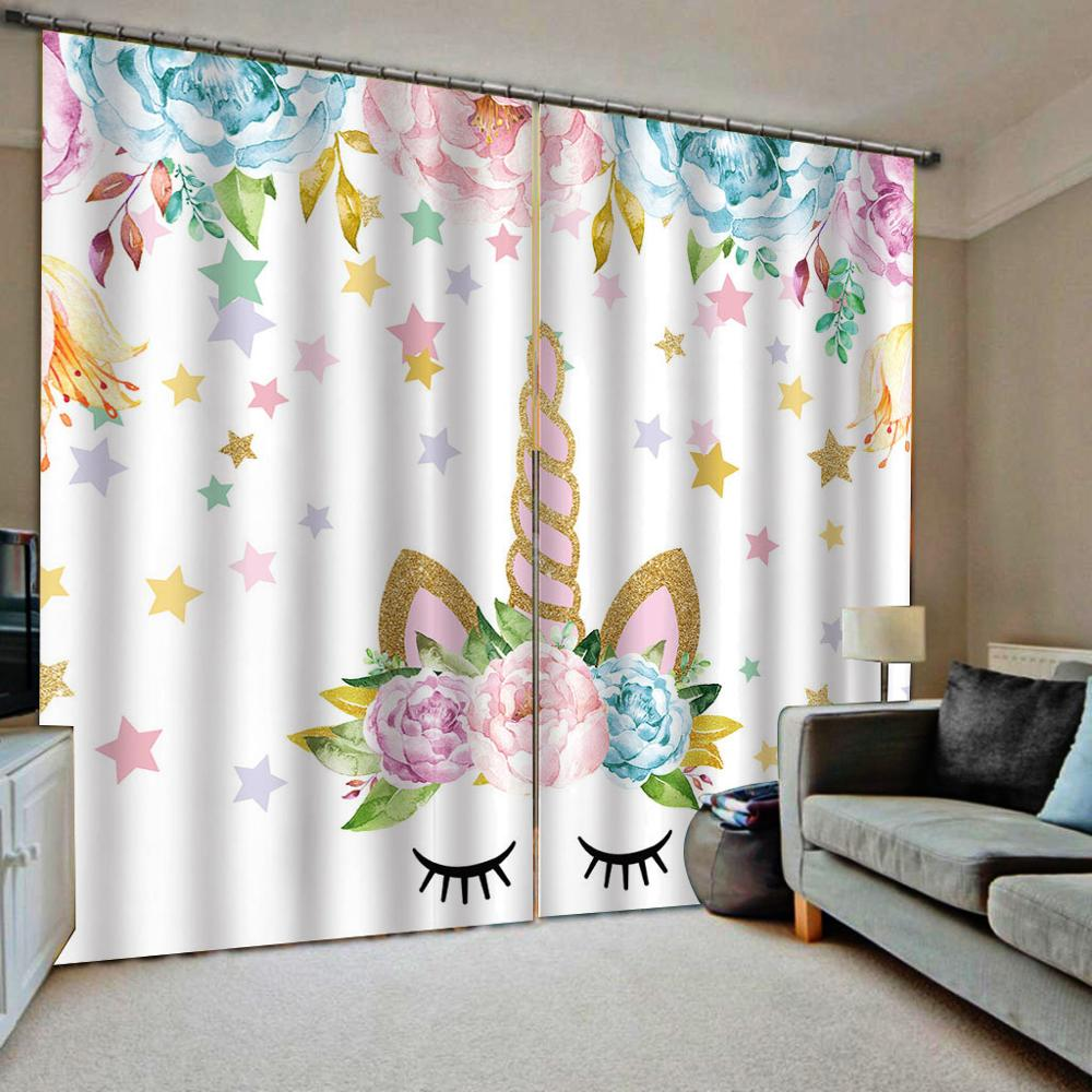 Cartoon Unicorn Windows Curtains Thin for Living Room Bedroom Decorative Kitchen Curtains Drapes Treatments Customize dropship