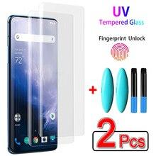 Pegamento líquido UV para Oneplus 7 7T Pro, Protector de pantalla líquida UV Premium para One Plus 8 9 7T Pro, Vidrio Curvo, 2 uds.