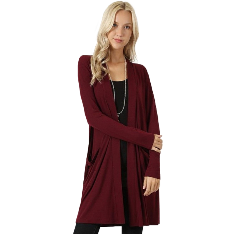 Solid Cardigan  Middle Length Women's Autumn Long Sleeved Thin Loose Coats Outwear Pocket Women's Cardigan Long 6