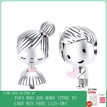 CodeMonkey Boy and Girl Charm fit Original Silver 925 Bracelet Genuine 925 Sterling Silver Metal Beads Valentine Gifts CMC1334
