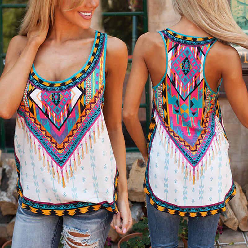 Womens Boho Ethnic Floral Vest Tops Shirt Ladies Summer Beach Loose Blouse Tees