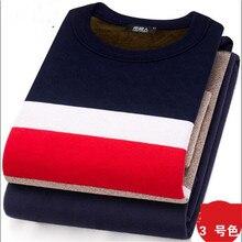 Новое модное мужское термобелье, длинный осенне-зимний свитер с высоким воротником+ штаны, комплект, теплые плотные топы, большие размеры, L-XXXL