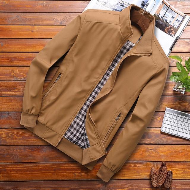 2021 Spring Autumn Casual Solid Fashion Slim Bomber Jacket Men Overcoat New Arrival Baseball Jackets Men's Jacket M-6XL Top 5