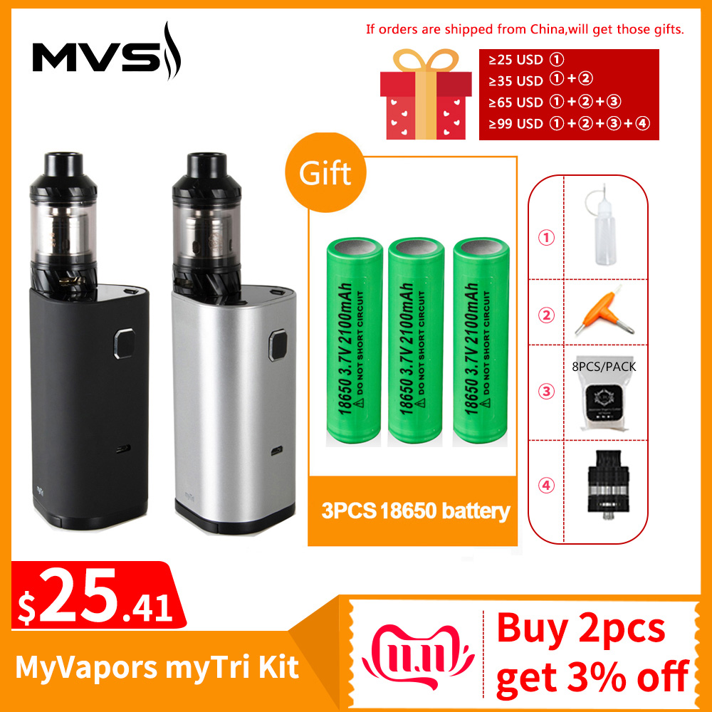 [RU/US]Original MyVapors MyTri Kit With KAGE Atomizer By 3PCS 18650 Battery Output 300W WT-H2/WT-V3 Coil Vpae Kit E-Cig