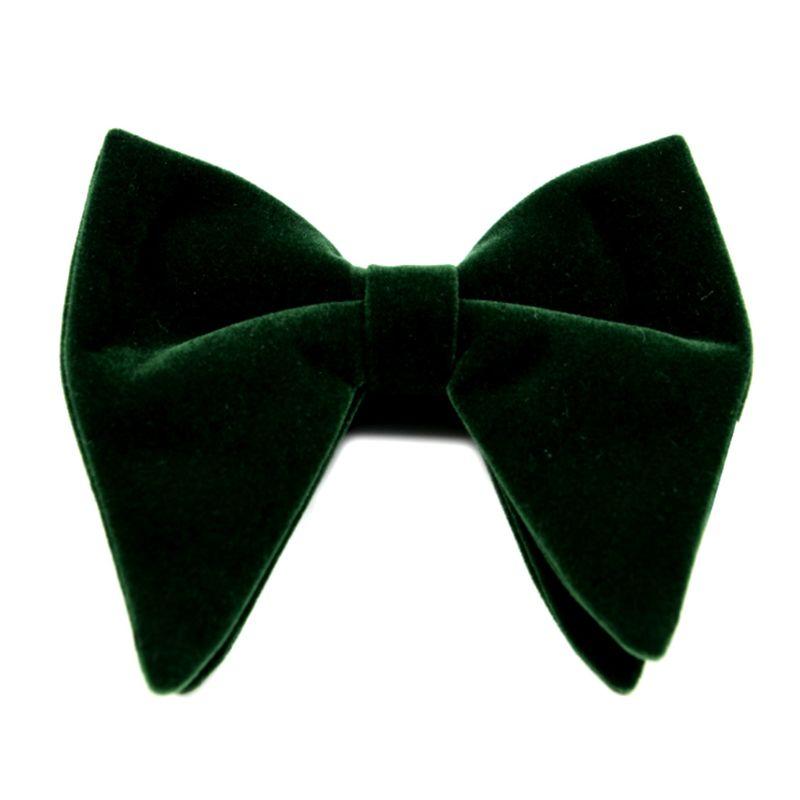 Mens Velvet Vintage Double Layer Pre-Tied Handmade Bow Tie Glitter Solid Color Tuxedo Big Oversized Adjustable Length Necktie