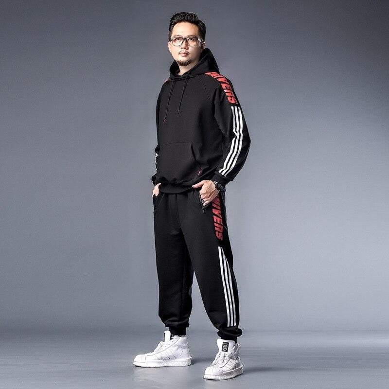 K71269 Red Ladder Under Three-Bar Hoodie Sweatpants Set Two-Piece Set Fashion Loose-Fit Men's Plus-sized