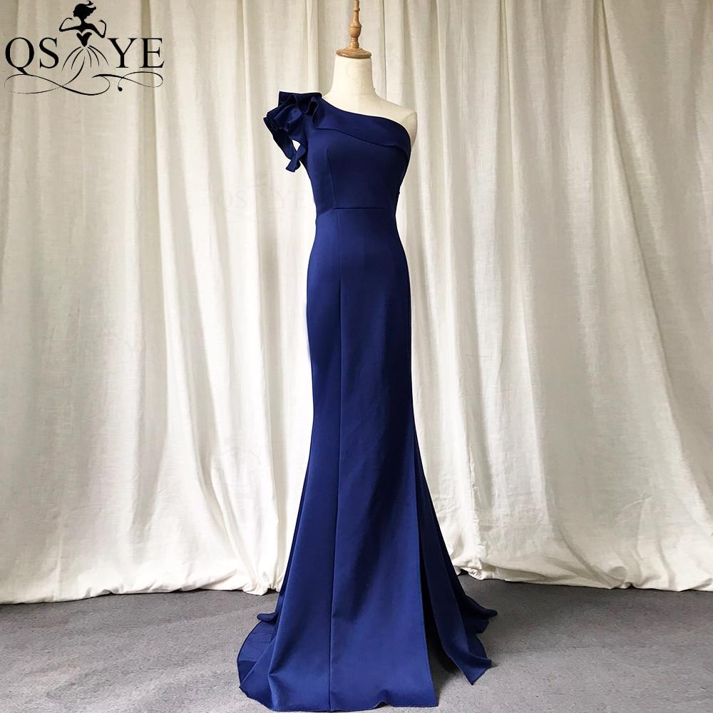 Navy Evening Dresses Long One Shoulder Mermaid Formal Gown with Split Shoulder...
