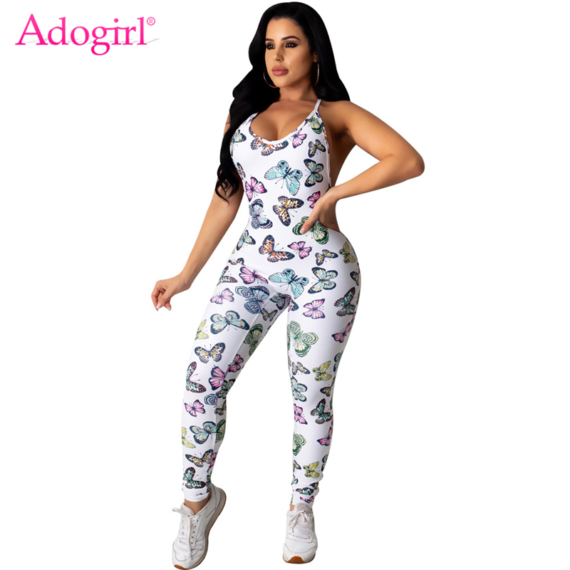 Adogirl Butterfly Print Women Spaghetti Straps Jumpsuit Sexy Backless Skinny Romper Fashion Casual Slim Overalls Tracksuit