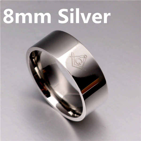 8 มม.Freemasons แหวน Masonic สีดำแหวนผู้ชายผู้หญิงทองเงินสีดำ 316L สแตนเลส Charms เครื่องประดับ