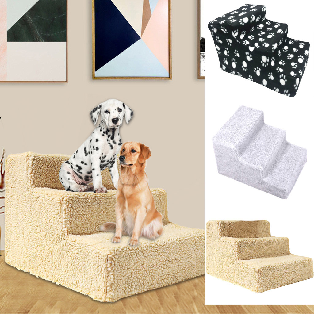 Pet Bed Stairs Pet Stairs 3 Ladder Dog House Puppy Cat Bed Steps Mesh Foldable Detachable Pet Bed Cat Dog Ramp Puppy Supplies*30