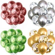10 pçs balões de festa de feliz aniversário metálico látex confetes balão para decorações de festa de aniversário crianças adulto ballon chuveiro do bebê