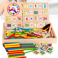 Kids Maths Teaching Box Set Children Wooden Number Counting Math Toy Mathematics Sticker Calculate Game Toy Education Block