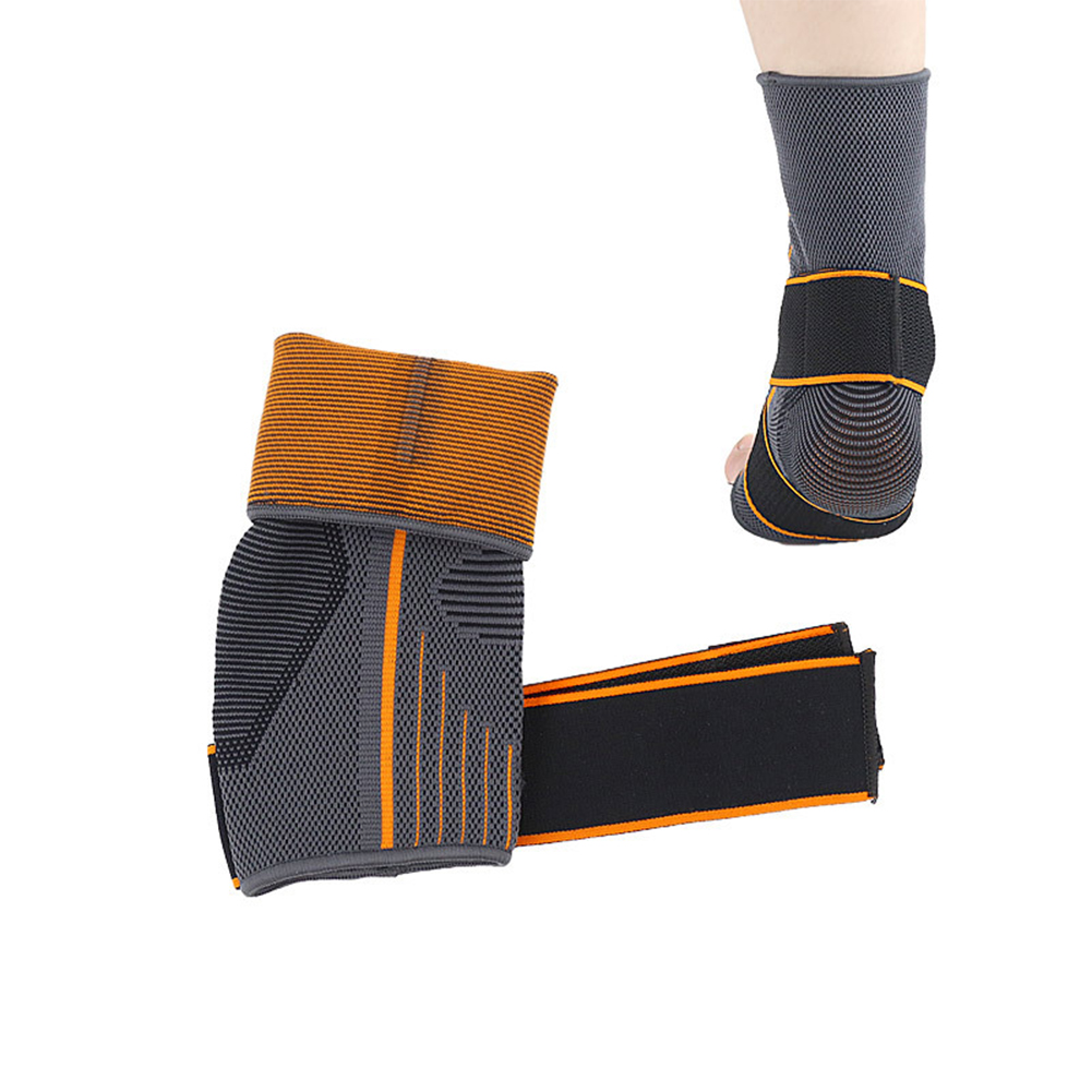 1pc Running Sports Protector Ankle Support Magic Sticker Warm Striped Nylon Strap Brace Sprain Prevention Elastic Breathable Gym