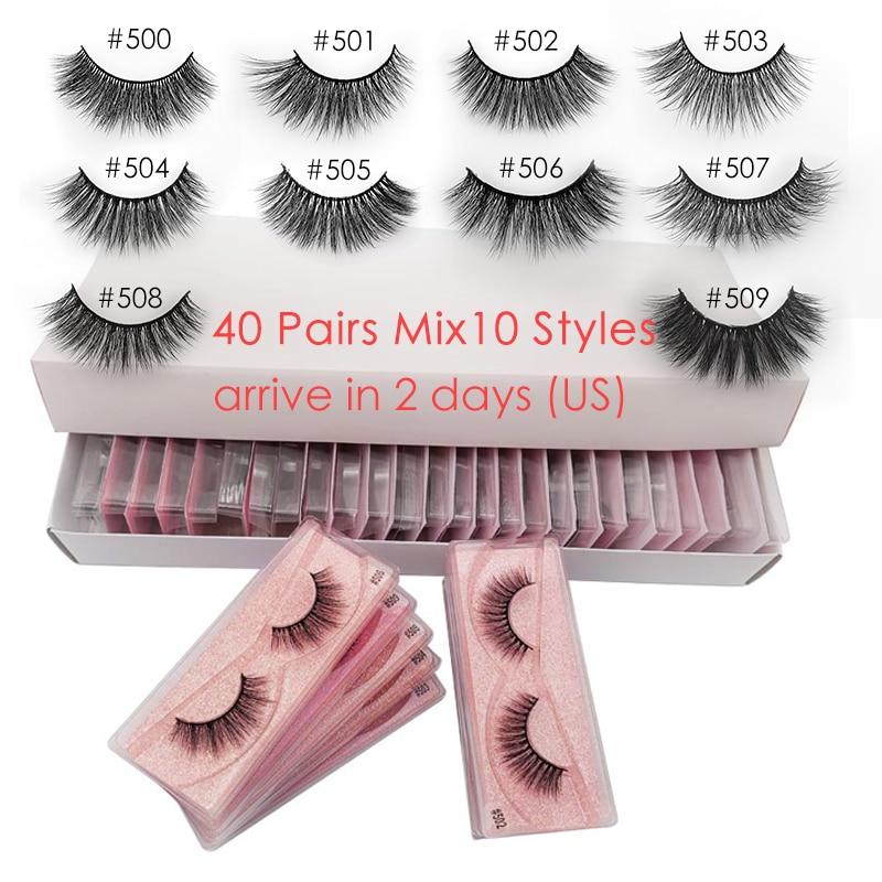 30/40 Pairs Mink Eyelashes Wholesale Natural Faux 3D Min Lashes Makeup Wispy False Eyelashes Extension In Bulk Cilios Maquiagem